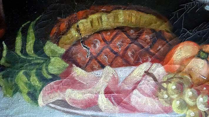 Vorzustand, tiefer Riss in der Leinwand (Ananas)