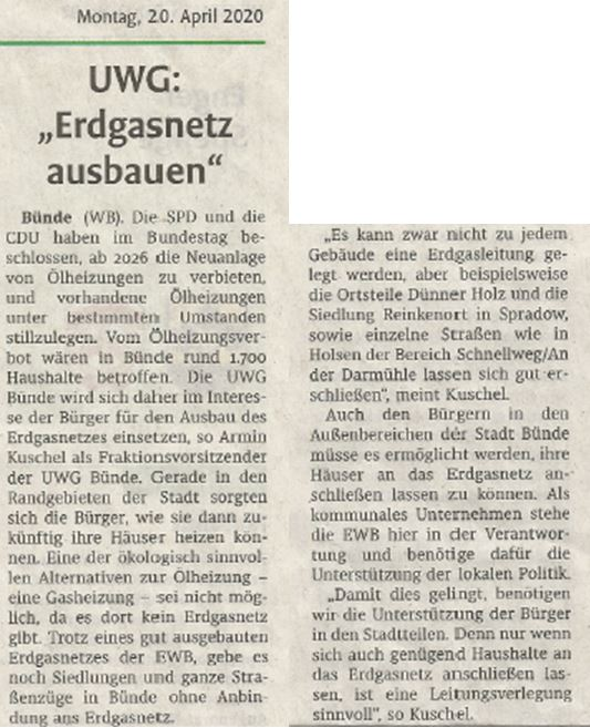 Mit freundlicher Genehmigung der Bünder Zeitung (Artikel vom 20.04.2020)
