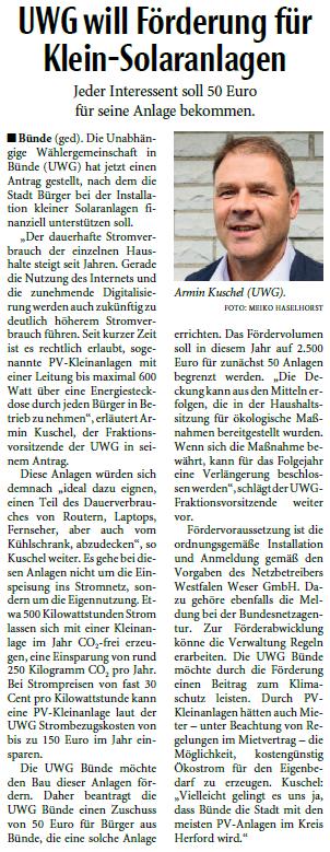 Mit freundlicher Genehmigung der Neuen Westfälischen (Artikel vom 26.02.2020)