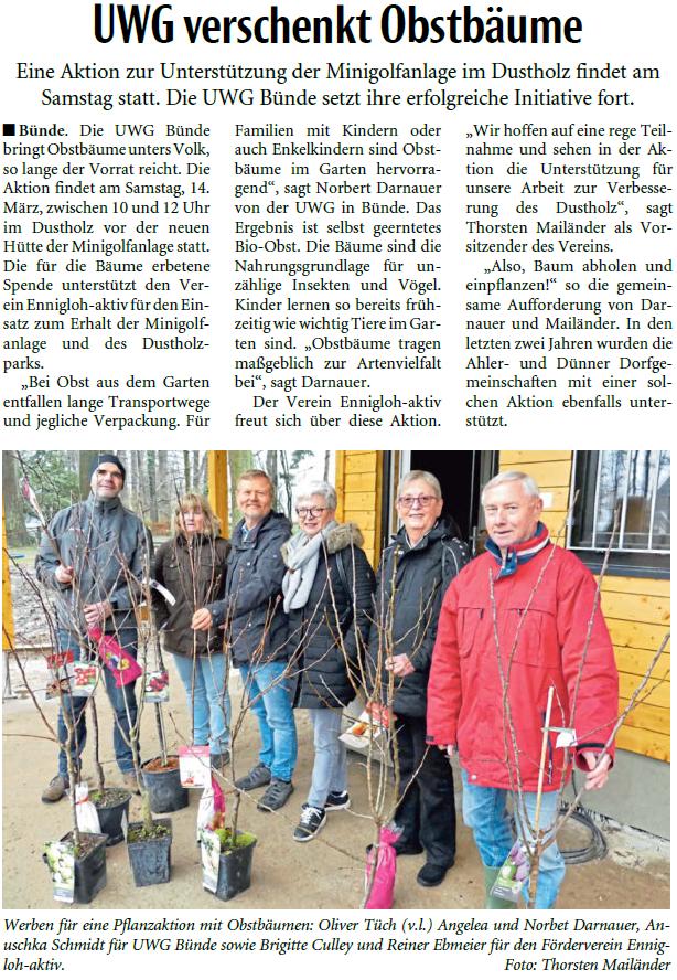 Mit freundlicher Genehmigung der Neuen Westfälischen (Artikel vom 12.03.2020)