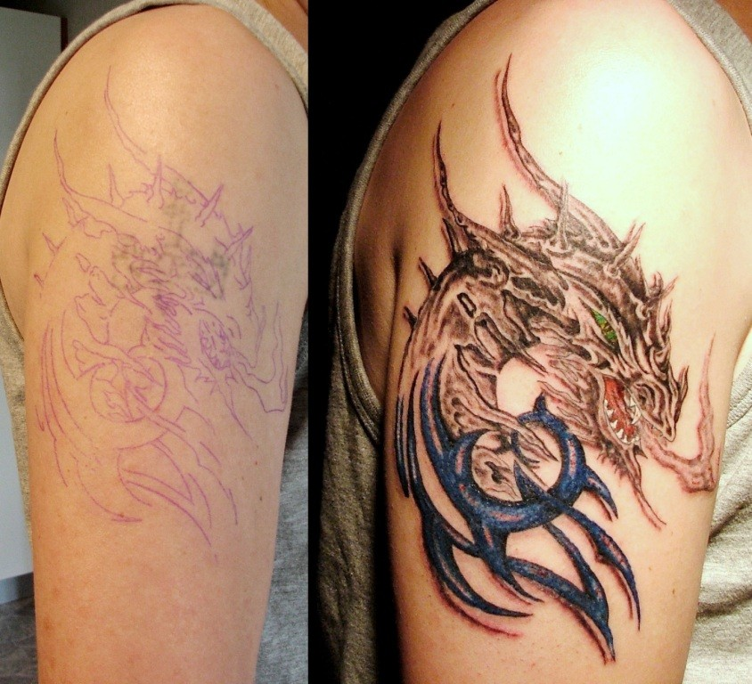cover up Tattoo Greifswald Drache