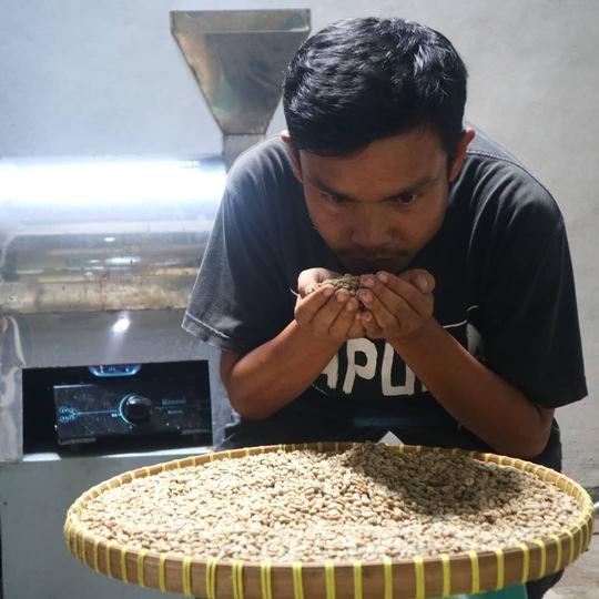 Sopian prüft die Qualität des Kaffees. Foto freundlicherweise zur Verfügung gestellt von Sopian El-Hadi