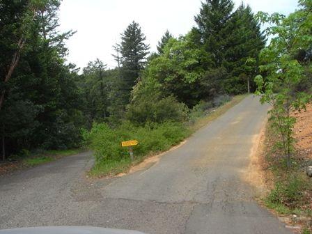 あとは黄色い看板が目印です。ここは右ですね。しばし、ほっそーい山道を進んでいくと・・・。
