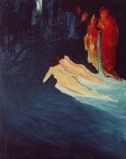 Dämmerung und Wasser, 2001, Öl auf Papier, 70 x 50 cm