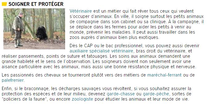 """extrait du site internet de l'ONISEP concernant les métiers à exercer auprès des animaux, dans la rubrique """"soigner et protéger""""."""