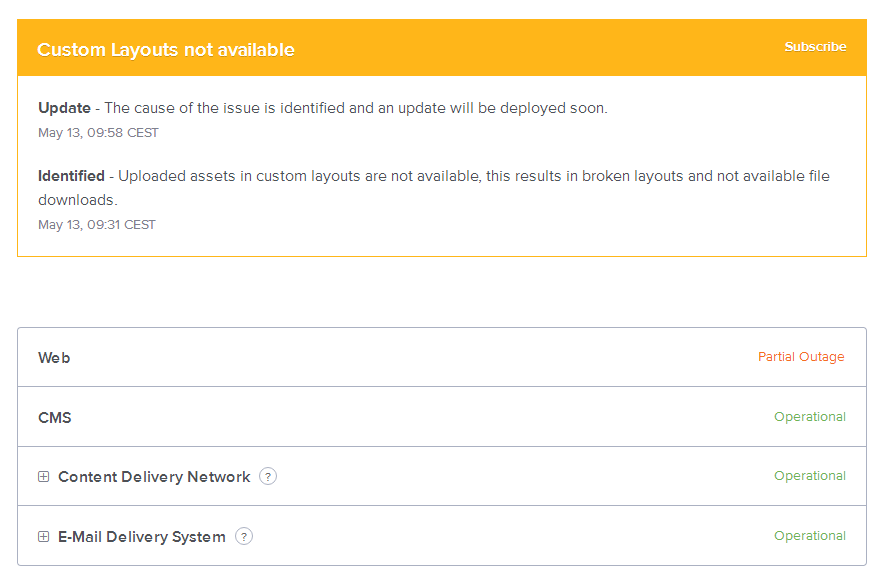 例:Webサーバに多くのサイトに影響を与える障害 (Partial Outage)が発生しています
