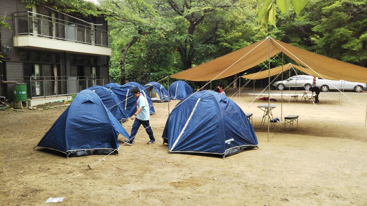 2回目の訓練野営、食堂フライ、個人テントの設営はリズムを掴みかけています。