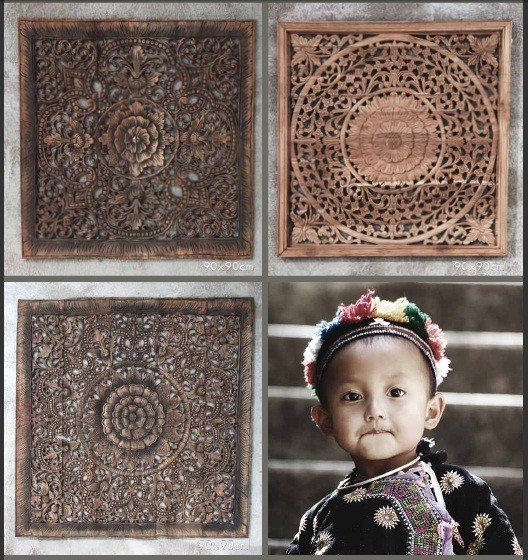 Cuadros madera tallada con rostro niño