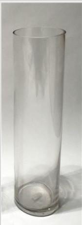Jarrón transpartente de cristal con forma de tubo