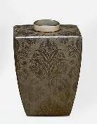 Jarrón de cerámica dorado Damasco
