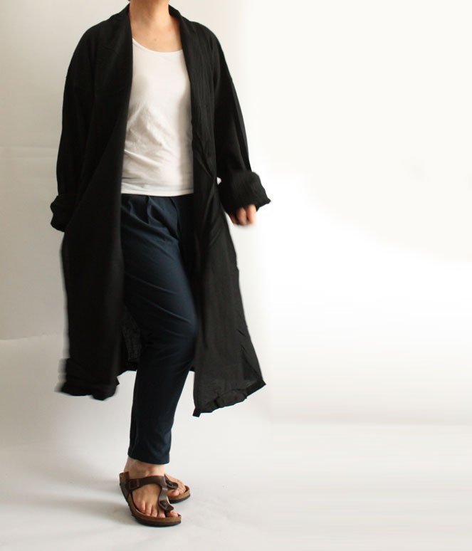 ヂェン先生の日常着 へちまえりロングカーディガン 裾さばき