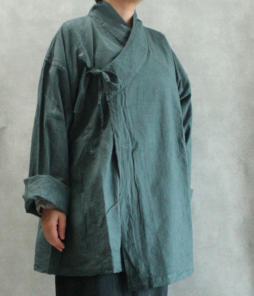 ヂェン先生の日常着 カサネバオリ グレイッシュグリーン