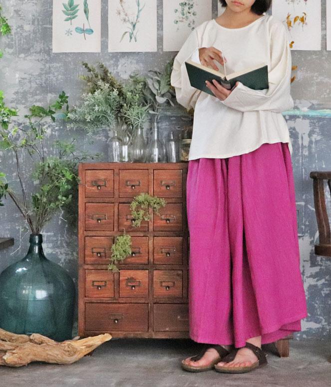 ヂェン先生の日常着 ヂェンさん 台湾 着こなし 綿麻 自然素材 ツノブラウス ワイドパンツ オリエンタル アジアン