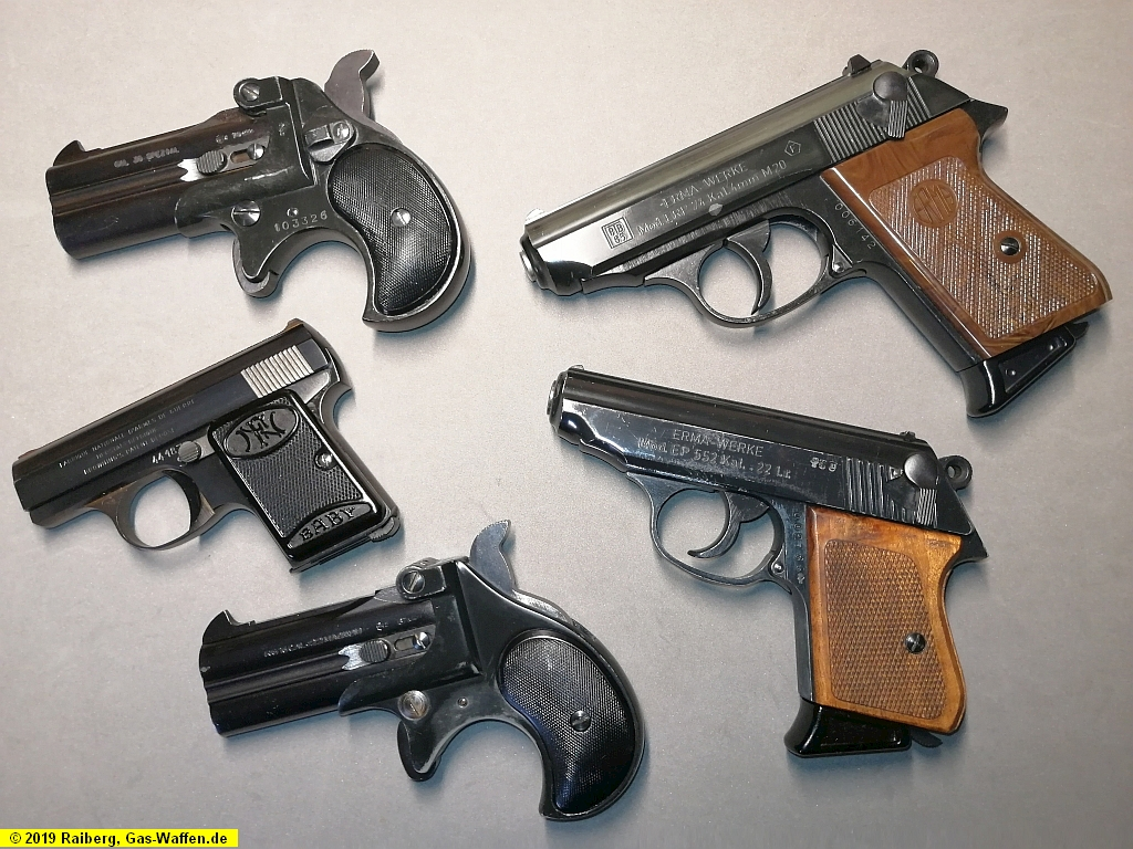 Scharfe Waffen, Vorbilder der Schreckschuss- und Gaswaffen, Pistolen, Revolver, 4 mm, Derringer, Röhm, Erma, FN Baby