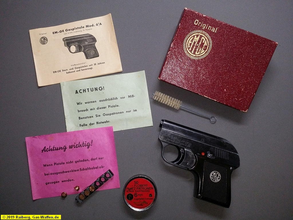 EM-GE, Modell 6a, 6 mm Flobert, Gaspistole, Verpackung