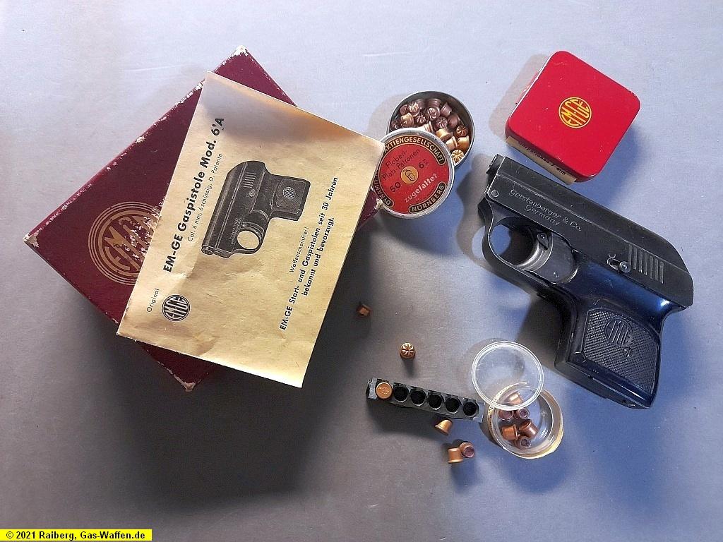 EM-GE, Modell 6a, Gaspistole, 6 mm Flobert, Verpackung, Beschreibung