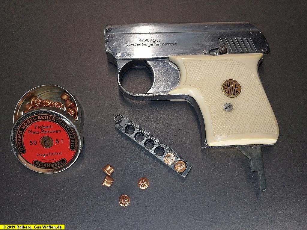 Pistole EM-GE, Modell 6b, Kaliber 6 mm Flobert Platz und Gas