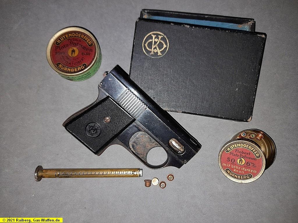 Oskar Kirchner, Taschenpistole, Schreckschußpistole, 6 mm Flobert, Platzpatrone