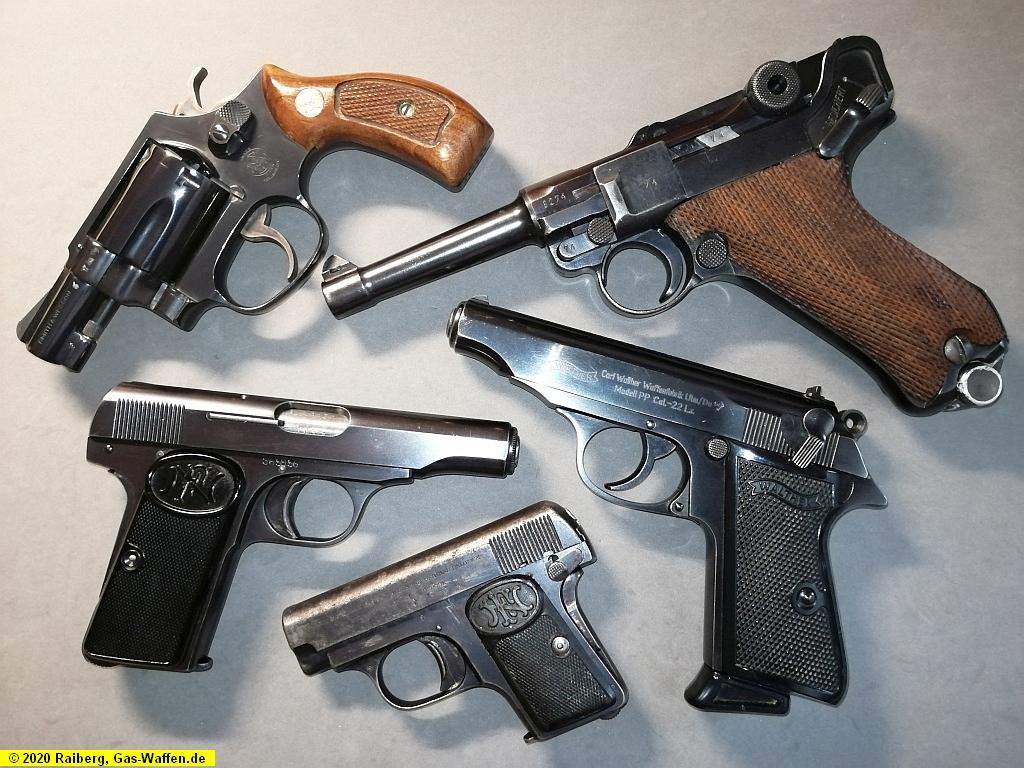 Vorgänger, Vorbilder, scharfe Waffen, Pistolen, Revolver, Munition, P08, PP, S&W