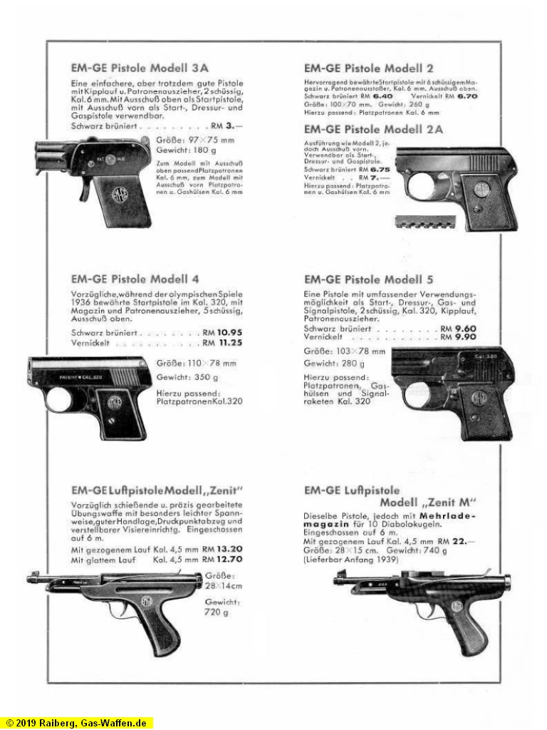 EM-GE, Werbung, Pistolen, Modell 4, Modell 5