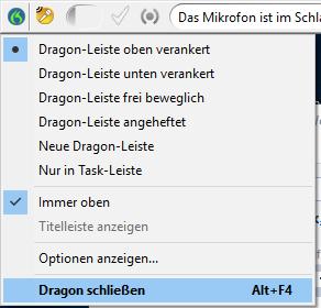 Dragon über die klassische Dragon-Leiste schliessen