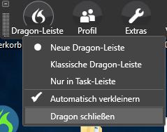 Dragon über die neue Dragon-Leiste schliessen
