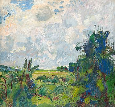 Sommerlandschaft unter hohem bewölktem Himmel, Öl/Leinwand, 1928