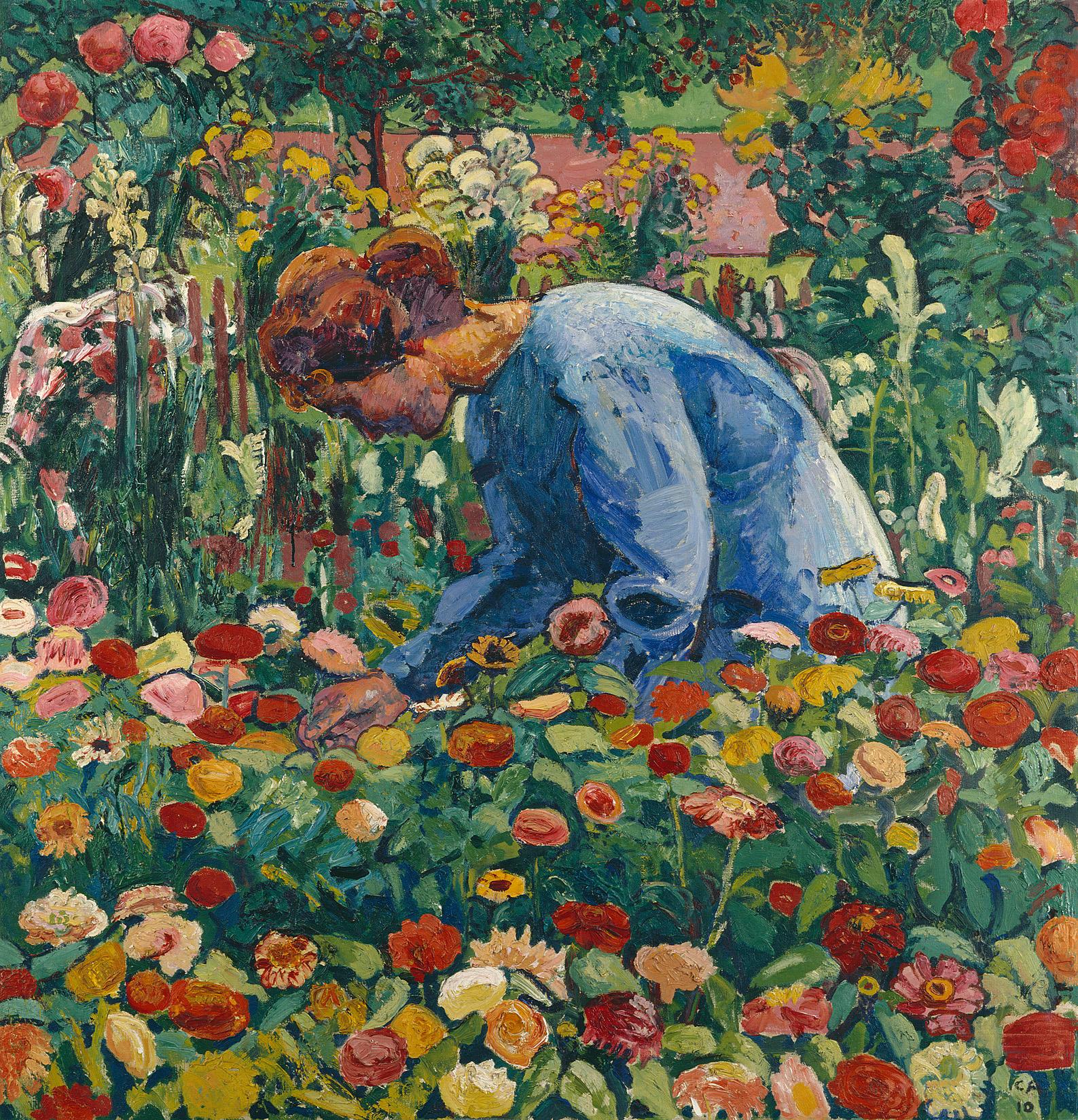Cuno Amiet, Anna Amiet im Blumengarten, 1910