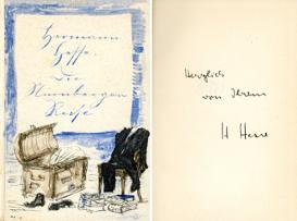Hermann Hesse: Die Nürnberger Reise. Verlag S. Fischer, Berlin Erstausgabe 1927 mit persönlicher Widmung