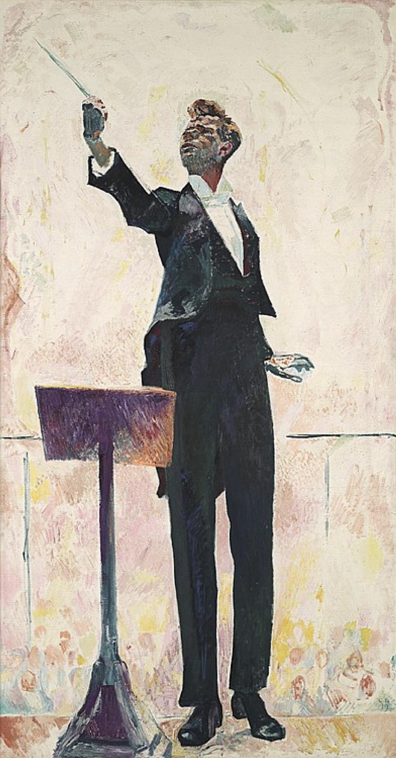 Cuno Amiet, der Dirigent, 1919 - ausgestellt in Madrid und Bacelona, 1956