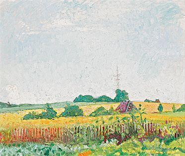Sommerlandschaft, Öl/Holzfaserplatte, 1956