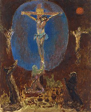 Cuno Amiet, Kreuzigung, Öl/Holzfaserplatte, 1937