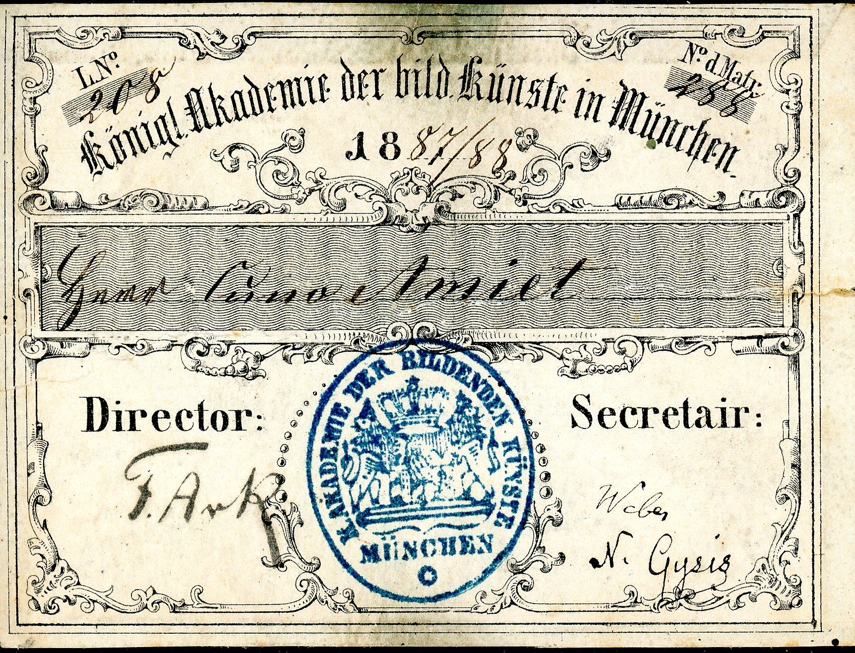 Amiet's student pass from the Academy of Fine Arts in Munich, 1877/78