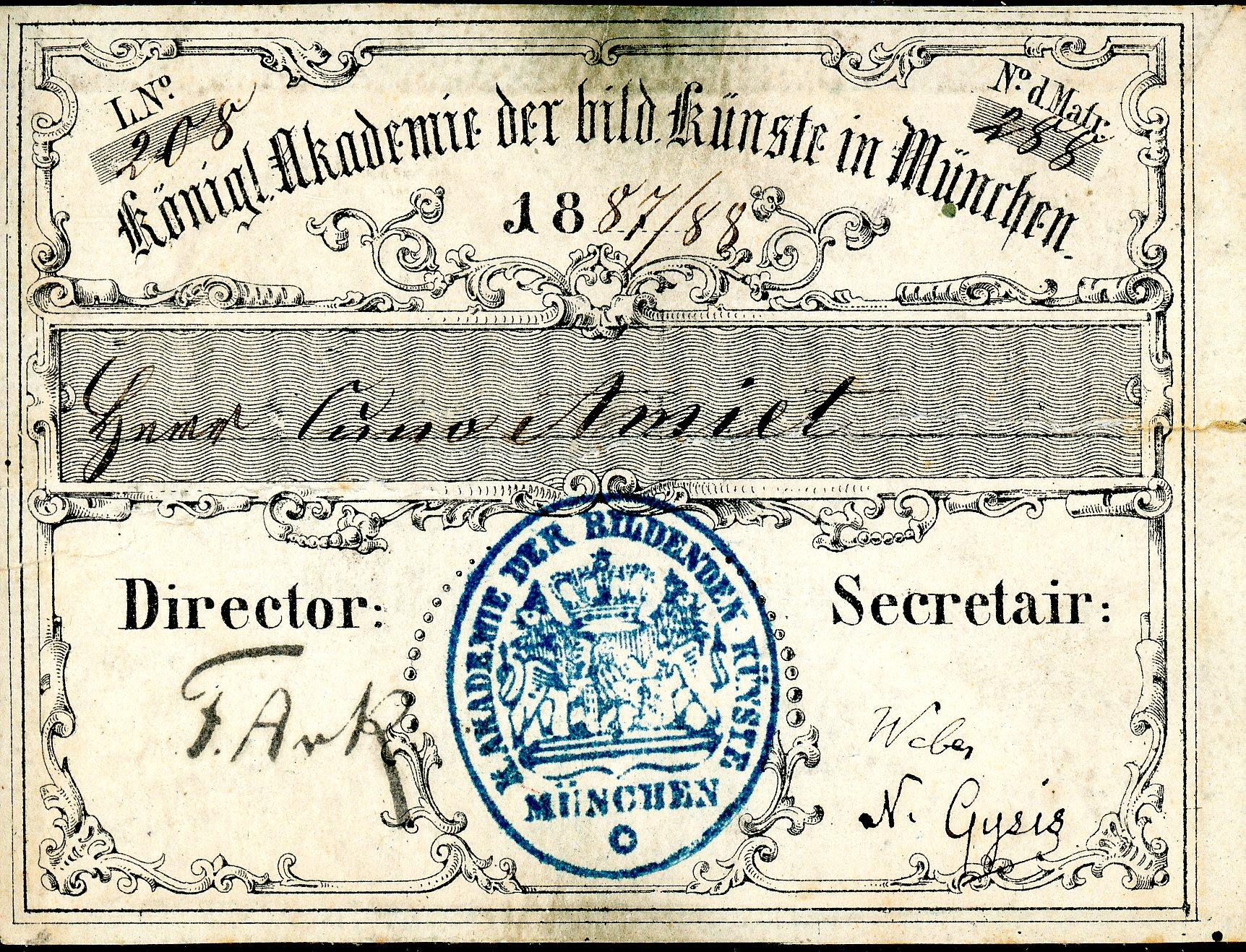Schulausweis Cuno Amiets von der Akademie der bildenden Künste in München, 1877/78