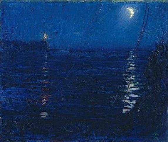 Cuno Amiet, Mondnacht auf dem Meer (Titel SIK: Pont-Aven, Hafen bei Nacht), Öl/Leinwand, 1892