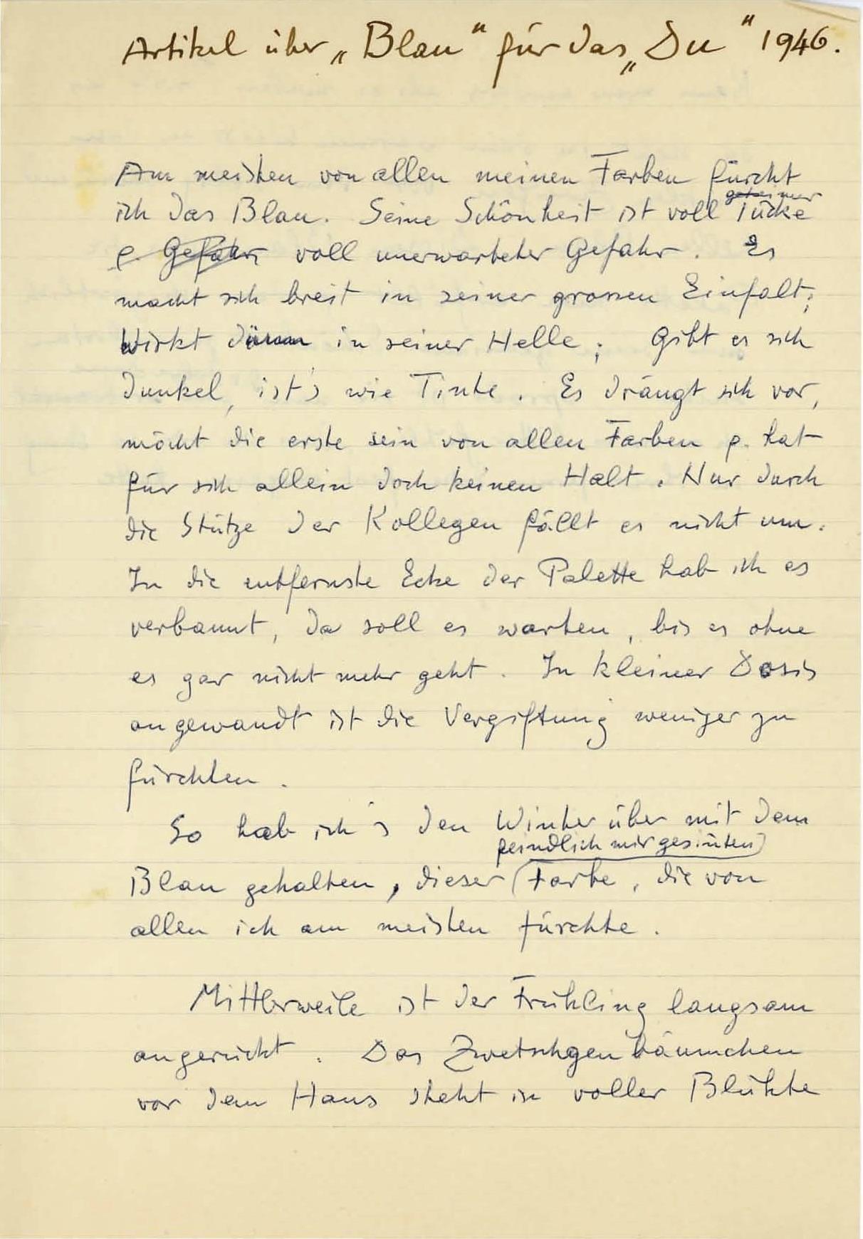 Handschriftliche Fassung des Artikels, 1946