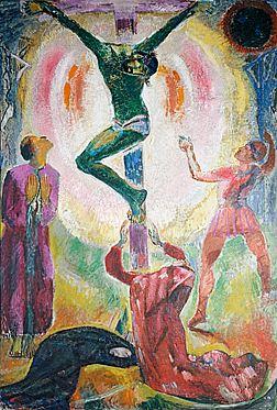 Cuno Amiet, Kreuzigung, Öl/Leinwand/Holzfaserplatte, 1927, Kirche Seeland-Lyss