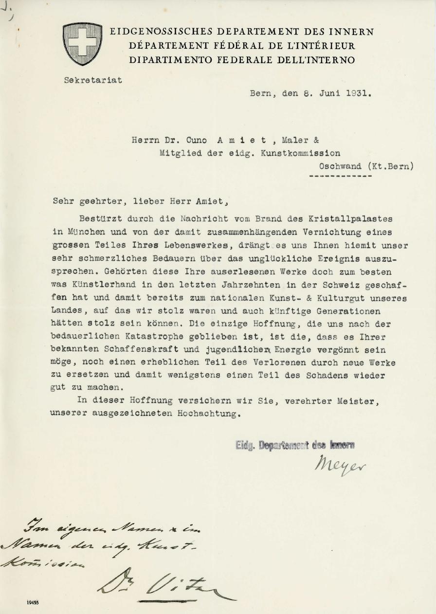 Brief Eidg. Departement des Innern, 08.06.1931