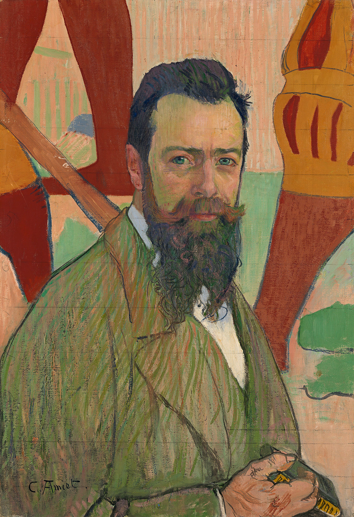 Cuno Amiet, Picture of Ferdinand Hodler in front of his Marignano painting, 1898