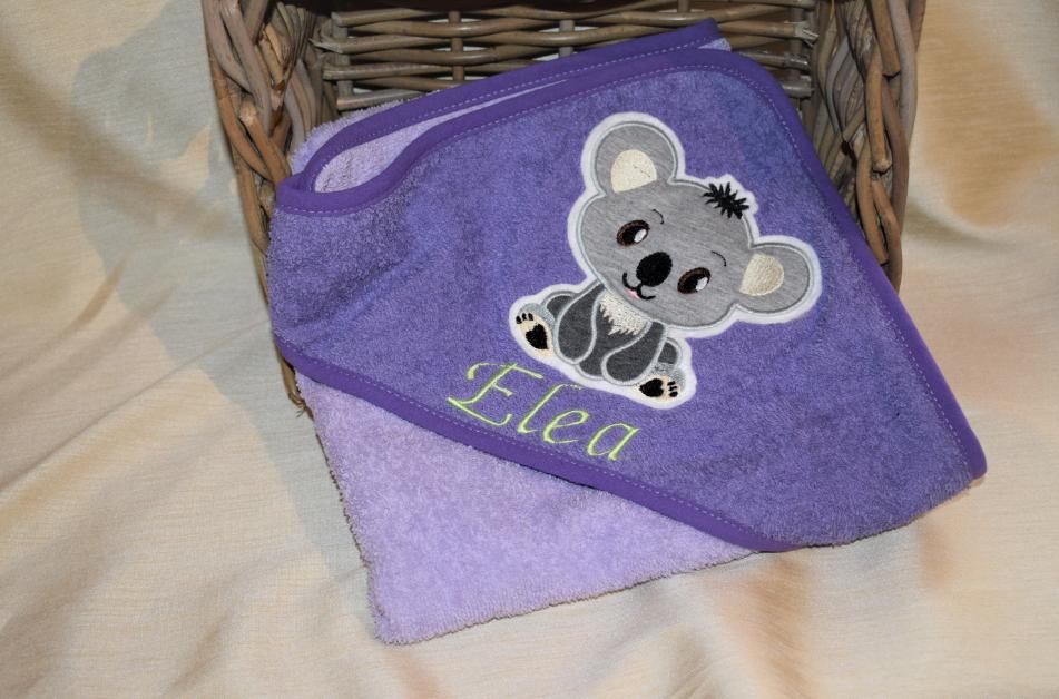 Kapuzenbadetuch bestickt Koalabär