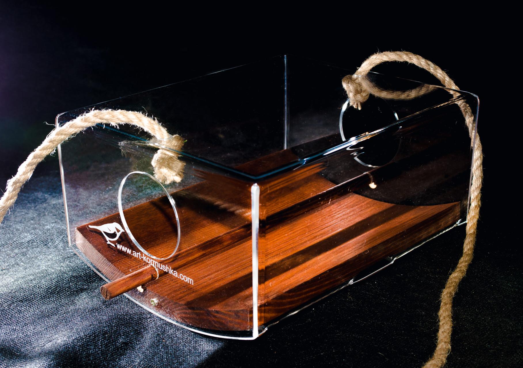Прозрачная кормушка для птиц с деревянным днищем Ковчег Плато
