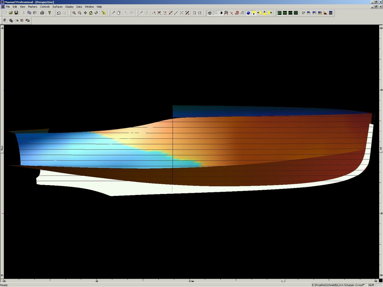 Digitized New Lines for 6,8m Poop Deck Motor Boat