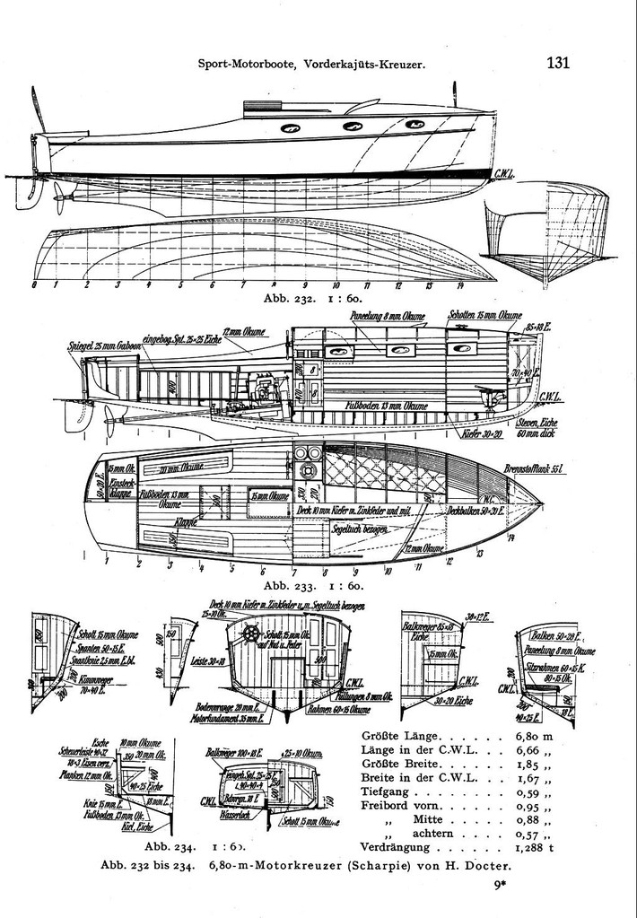 Drawing from H. Docter 6,8m Poop Deck Motor Boat