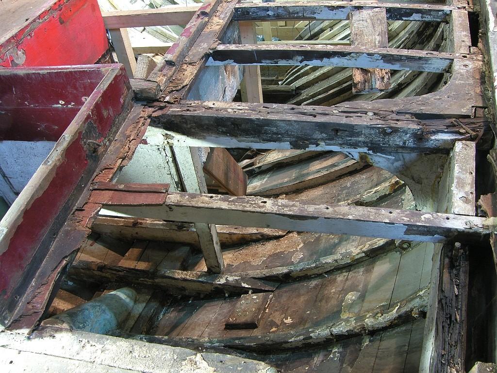 Zustand der Decksbalken achtern