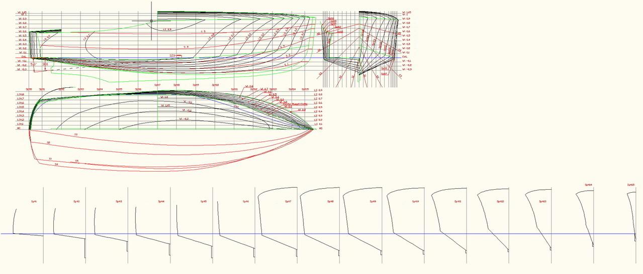 Lines Drawing 6,8m Poop Deck Motor Boat