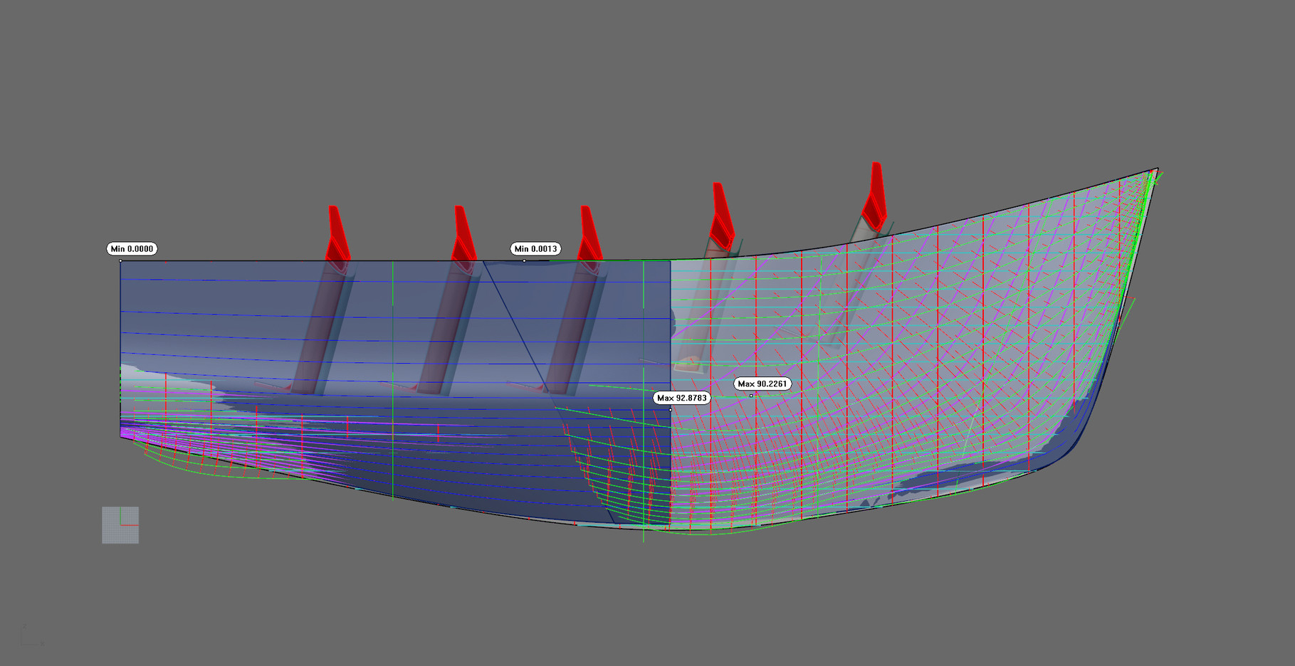 Deviation measurement of pattern to new hull