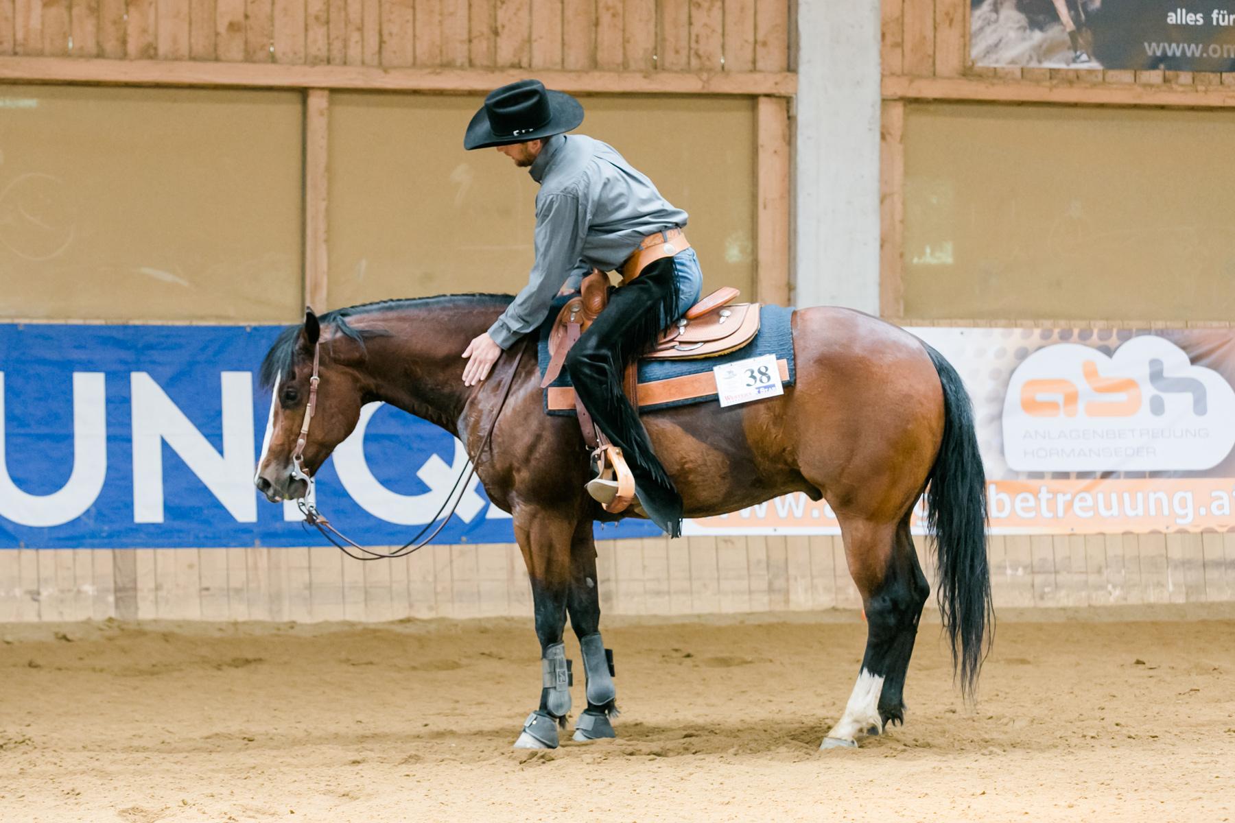 Reini Hochreiter und Smart Freckles Orima nach ihrem Siegesritt. Foto: Andrea Indrich