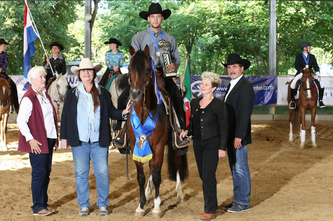 August 2017: Reini Hochreiter und GFH Sonar SeGanges werden Europameister in der Reining der Vollblutaraber in Wiener Neustadt. Foto: CK Photographics