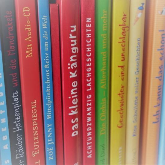 Bücher Kinderbücher im Regal aufgereiht.