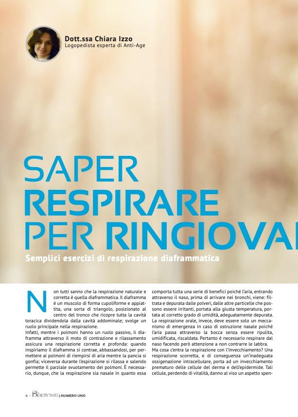 SAPER RESPIRARE PER RINGIOVANIRE - dr.ssa CHIARA IZZO